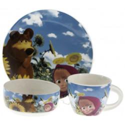 Детски сервиз за хранене Маша и мечока от порцелан