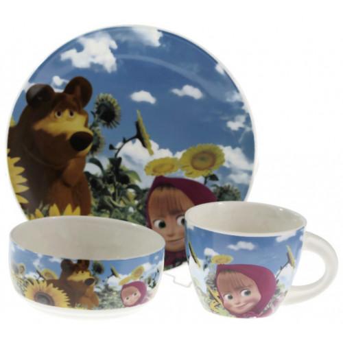 Детски сервиз за хранене Маша и мечока от порцелан на супер цена от Neostyle.bg