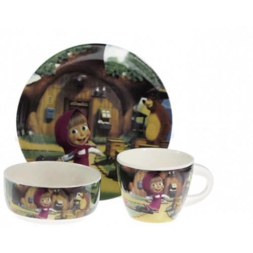 Детски сервиз за хранене от порцелан -Маша и мечока