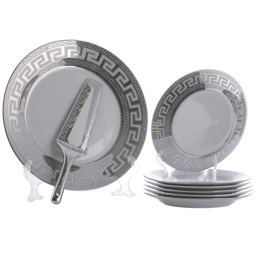 Сервиз за торта Версаче-сребро