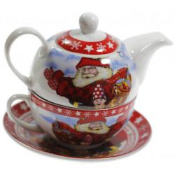 Сет чаша с чайник Дядо коледа