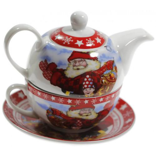 Сет чаша с чайник Дядо коледа на супер цена от Neostyle.bg