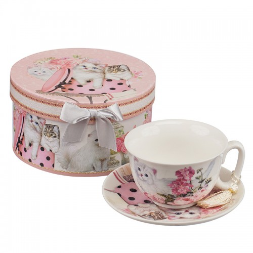 Комплект чаша+чинийка Котки на супер цена от Neostyle.bg