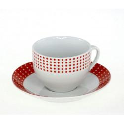 Сервиз за чай в червено бял десен
