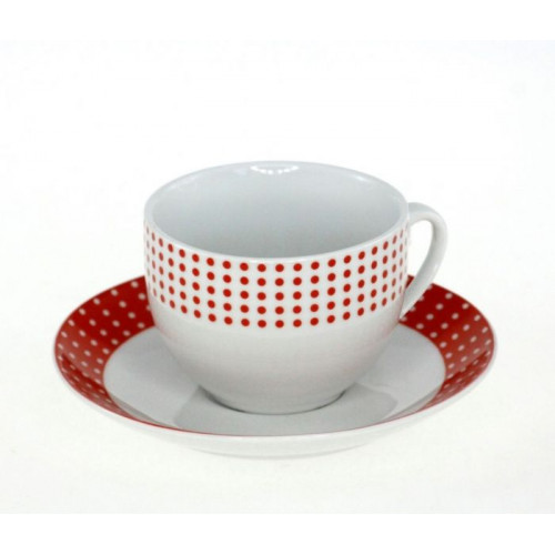 Сервиз за чай в червено бял десен на супер цена от Neostyle.bg