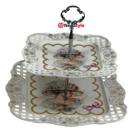 Порцеланово плато за сладки на 2 нива Роза на супер цена от Neostyle.bg