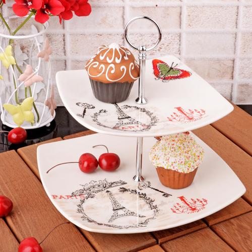 Порцеланово плато за сладки на 2 нива PARIS на супер цена от Neostyle.bg