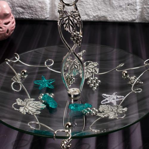 Стъклена фруктиера със сребърни орнаменти