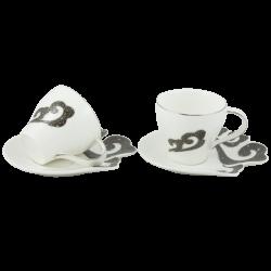 Комплект 2 чаши с чинийки в подаръчна кутия с дръжка