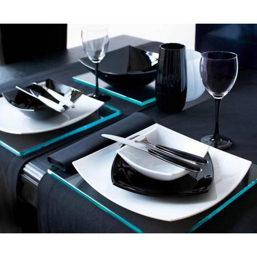 Сервиз за хранене Quadrato Luminarc 19 ч. черно-бял на супер цена от Neostyle.bg