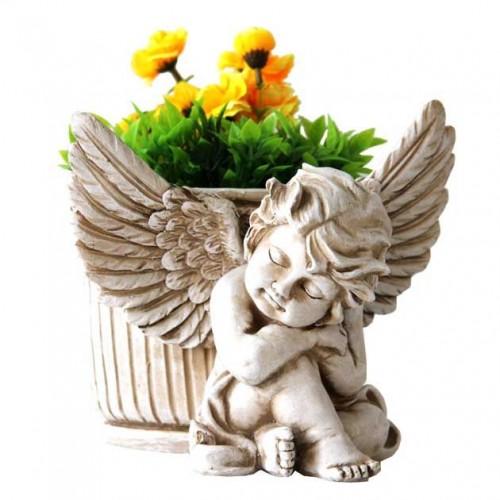 Керамична кашпа-ангел