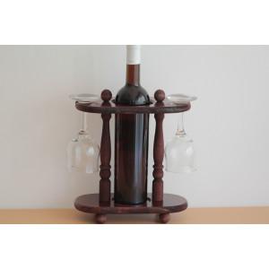 Дървена стойка за бутилка с 2 чаши