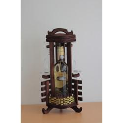 Дървена стойка за бутилка с 4 чаши