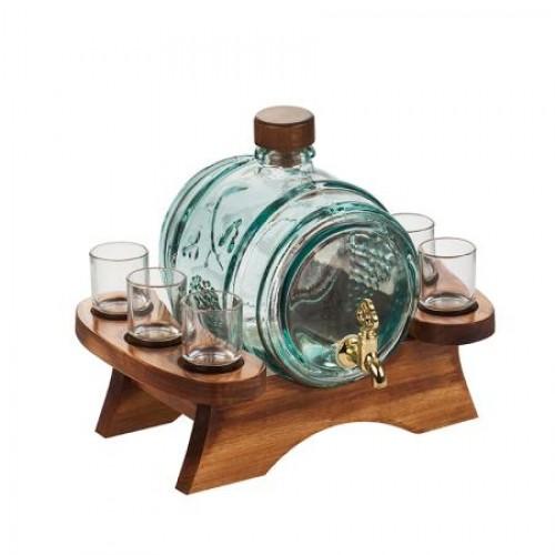Сет буре с чешмичка + 6 чаши за ракия