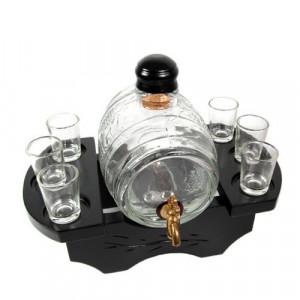 Стъклена бъчва с 6 чаши