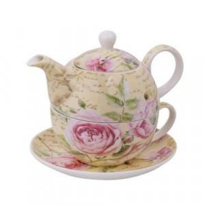 Комплект чаша с чайник Цветя