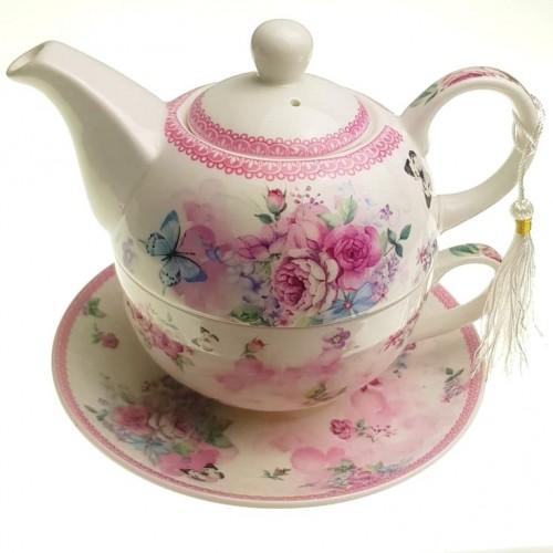 Комплект чаша с чайник Божури