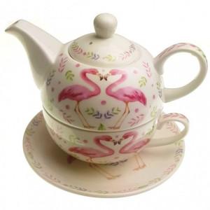 Комплект чаша с чайник Фламинго