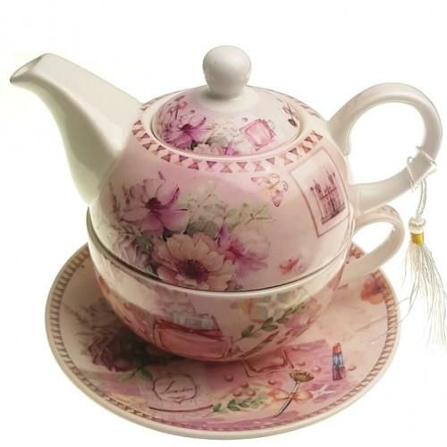 Комплект чаша с чайник Цветя на супер цена от Neostyle.bg
