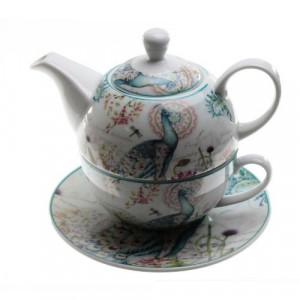 Комплект чаша със чайник Рози