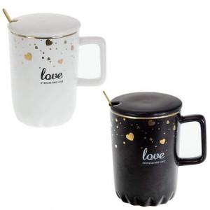 Порцеланова Чаша Love в черно и бяло