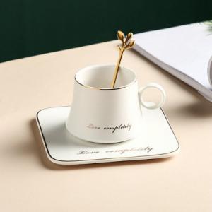 Чаша, чинийка, лъжичка White Love