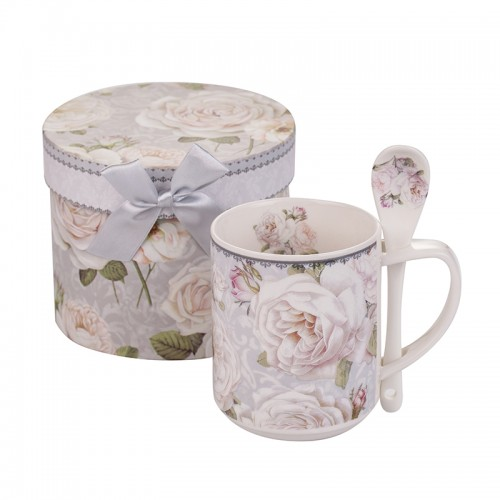 Чаша с лъжичка бяла роза New Wish Studio Porcelain на супер цена от Neostyle.bg