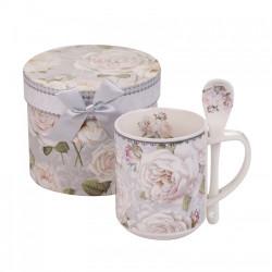 Чаша с лъжичка бяла роза New Wish Studio Porcelain