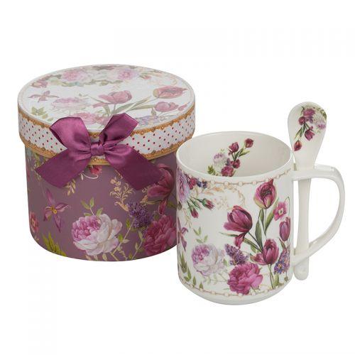 Чаша с лъжичка  лалета New Wish Studio Porcelain