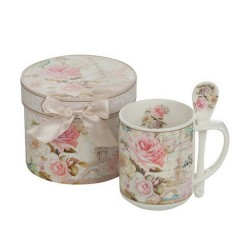 Чаша с лъжичка Роза Айфел New Wish Studio Porcelain