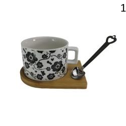 Чаша с дървена чинийка и магнитна лъжичка