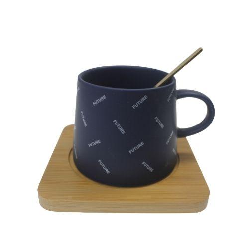 Чаша за кафе с дървена подложка на супер цена от Neostyle.bg