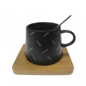 Чаша за кафе с дървена подложка
