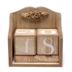 Дървен вечен календар Винтидж