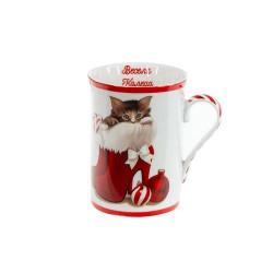 Коледна чаша за чай/кафе Котенце