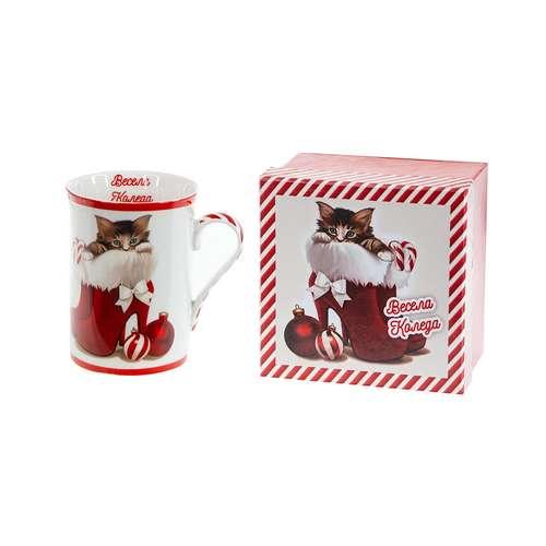 Коледна чаша за чай/кафе Котенце на супер цена от Neostyle.bg