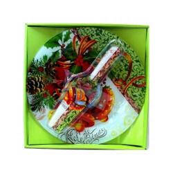 Комплект чиния + шпатула с коледни мотиви