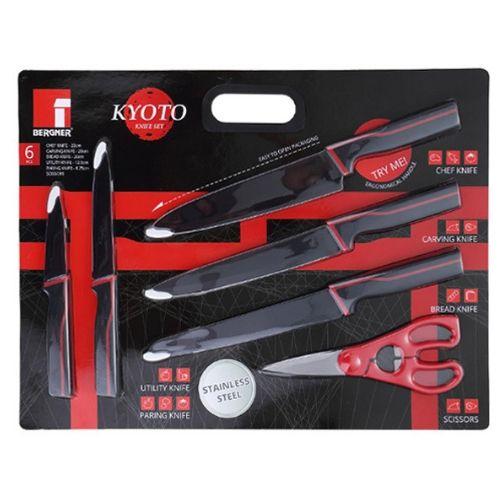 Комплект от 5 ножа и ножица с незалепващо покритие KYOTO