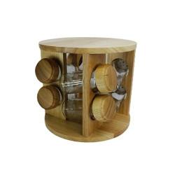 Комплект за подправки на дървена стойка