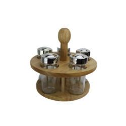 Буркани за подправки на дървена стойка