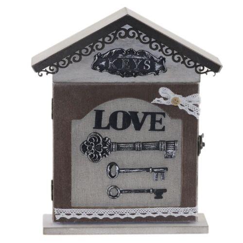 Дървена кутия за ключове Сърце
