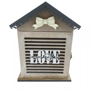 Дървена кутия за ключове винтидж