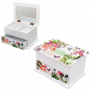 Дървена кутия за бижута Фламинго