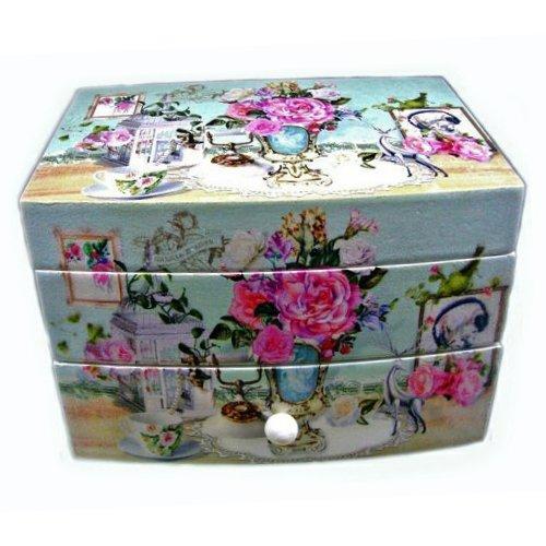 Дървена  музикална кутия за бижута Цветя