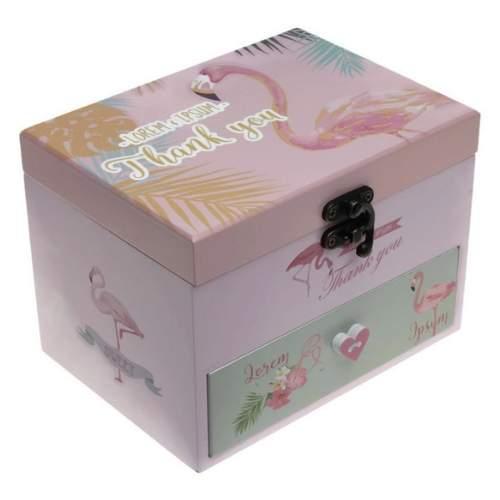 Дървена  музикална кутия за бижута Фламинго на супер цена от Neostyle.bg