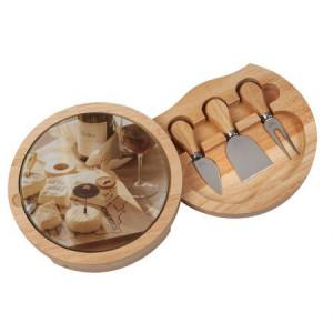 Комплект поднос -дъска и 3 бр прибори за сирена
