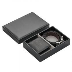 Мъжки комплект портфейл и колан от естествена кожа 110 см.