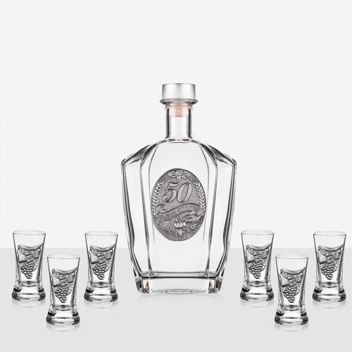 Сет бутилка+6 чаши за ракия