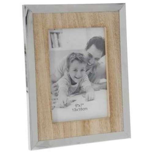 Дървена рамка за снимки с иноксов кант