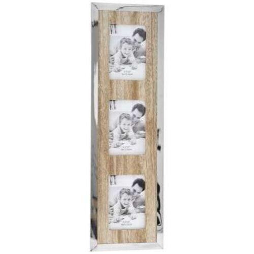 Дървено пано за 3 снимки с иноксов кант
